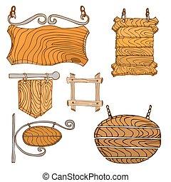 木製である, signpos