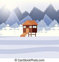 木製である, snowscape, 丸太小屋