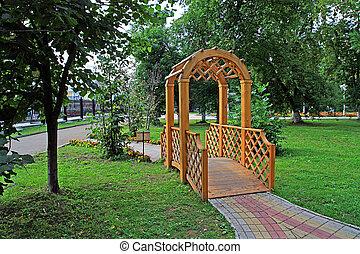 木製である, summerhouse, 中に, 町, 公園