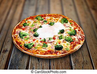 木製である, textured, ピザ, ベーコン, テーブル