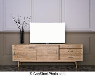 木製である, tv, 立ちなさい, ∥で∥, 平ら, lcd, television., 3d, レンダリング
