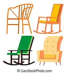 木製である, vector., 家, 隔離された, 動揺, 漫画, レトロ, furniture., イラスト, chair., 椅子, 快適である