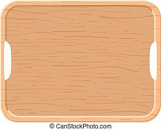 木製のこま, バックグラウンド。, 白, トレー, ビュー。