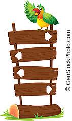 木製のこま, 看板, オウム, カラフルである