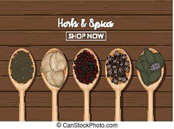 木製のスプーン, 上に, スパイス, 背景