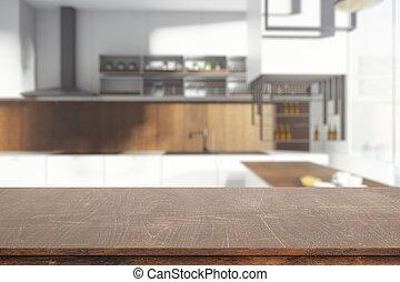 木製のテーブル, きれいにしなさい
