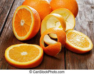 木製のテーブル, グループ, オレンジ