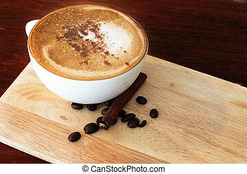木製のテーブル, コーヒー, 暑い, shop.