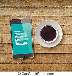 木製のテーブル, コーヒー, 朝食, cup.