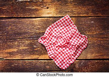 木製のテーブル, テーブルクロス, 赤