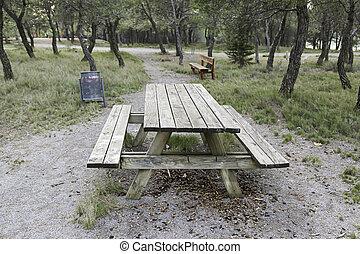 木製のテーブル, 中に, ∥, フィールド