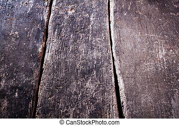 木製のテーブル, 古い, 外気に当って変化した, 背景