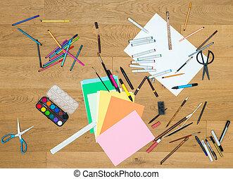 木製のテーブル, 技能, 美術ツール