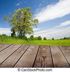 木製のテーブル, park., 空, デッキ