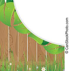 木製のフェンス, そして, 緑豊かな 群葉