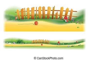 木製のフェンス, イラスト