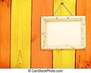 木製のフレーム, 上に, 木製の壁