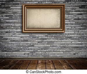 木製のフレーム, 上に, a, レンガ, wall.