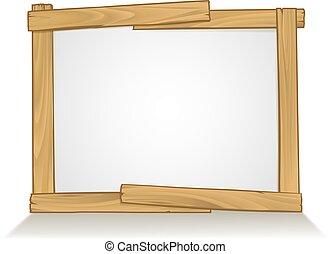 木製のフレーム, 印, デザイン, 背景, 要素