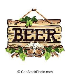 木製のフレーム, 古い, ビール