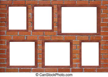 木製のフレーム, 壁, 背景, ブランク, れんが