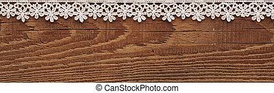 木製のフレーム, 白, レース, 背景