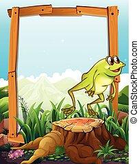 木製のフレーム, 跳躍, 背景, カエル
