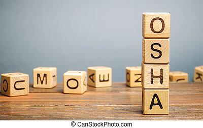 木製のブロック, 健康, -, 単語, 職業である, administration., 安全, osha