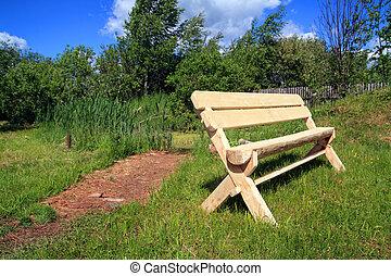 木製のベンチ, 中に, 夏, 公園