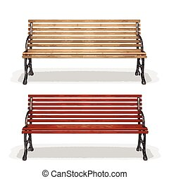 木製のベンチ, (vector)