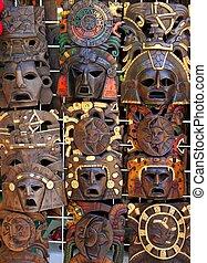 木製のマスク, mayan, handcrafts, aztec, indian