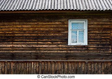 木製の壁, 窓