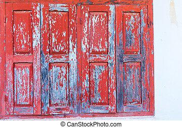 木製の壁, 窓, 白い赤