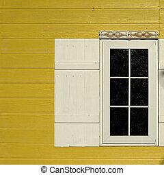 木製の壁, 窓, 白, 黄色