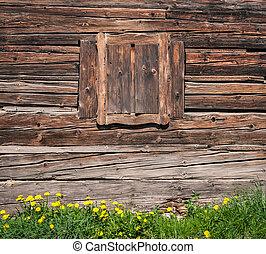 木製の壁, 窓, textured