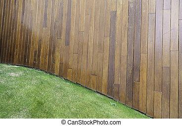 木製の壁, 草