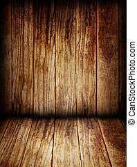 木製の壁, 部屋, 床