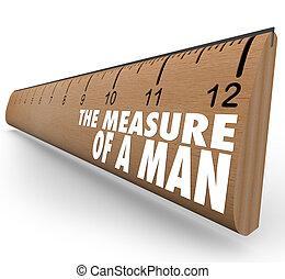 木製の定規, 人, 言葉, 測定