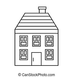 木製の家, アイコン, スタイル, アウトライン