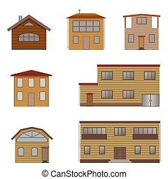 木製の家, セット