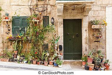 木製の家, ドア, 前部