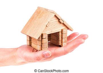 木製の家, モデル, 手