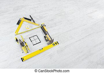 木製の家, 上に, 改善, バックグラウンド。, 形, 家, 道具, concept.