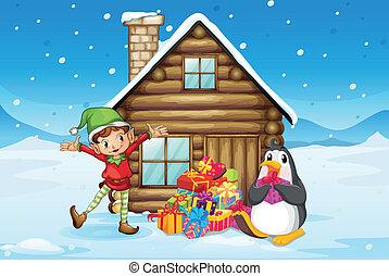 木製の家, 妖精, ペンギン