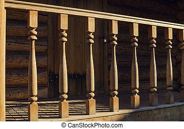 木製の家, 手すり, 外面