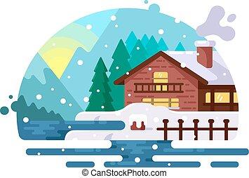 木製の家, 海岸, 湖