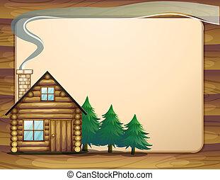 木製の家, 空, テンプレート, 前部