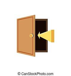 木製の戸, 開いた, 矢