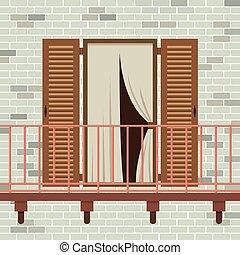 木製の戸, 開いた, balcony.
