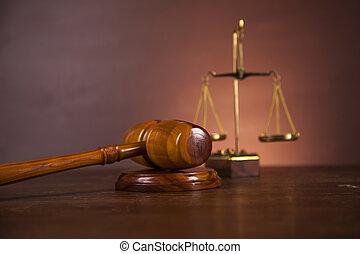木製の机, 中に, a, 法律事務所